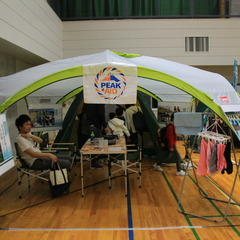 防災チャレンジ大運動会でテント村セット展示