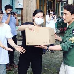 北海道地震支援 支援物資をトラックに積み込み