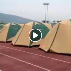 熊本地震支援、テント村、159張まで増えました。